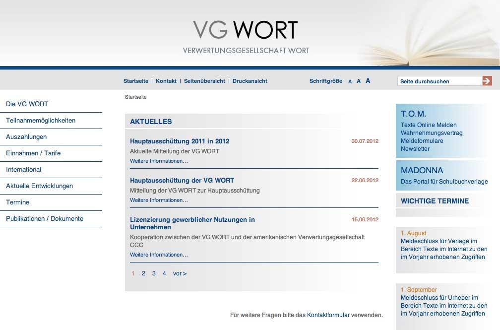 Screenshot von vgwort.de